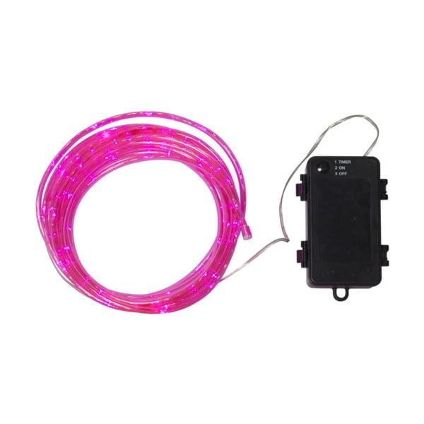 Růžový venkovní světelný LED řetěz Best Season Tuby, 50světýlek