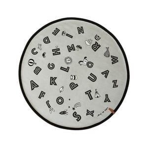 Bavlněný koberec OYOY The Alphabet, ⌀ 120 cm
