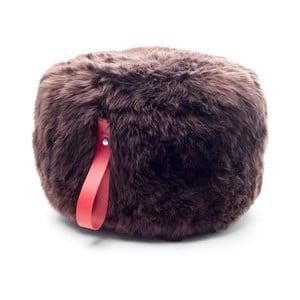 Tmavě hnědý puf z ovčí vlny s červeným detailem Royal Dream,⌀ 60cm