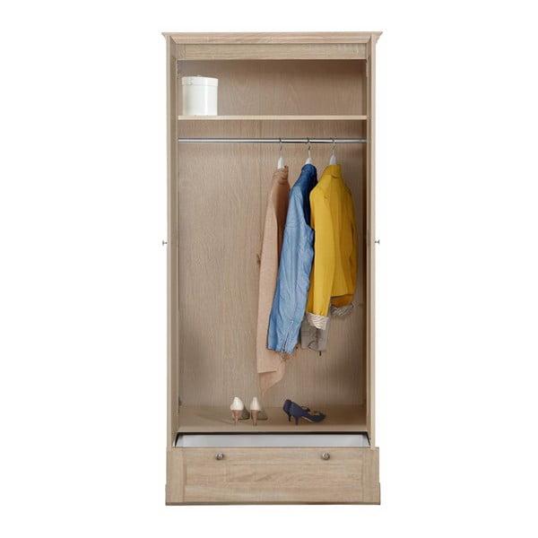 Dvoudveřová šatní skříň v dubovém dekoru se zásuvkou Støraa Bruce