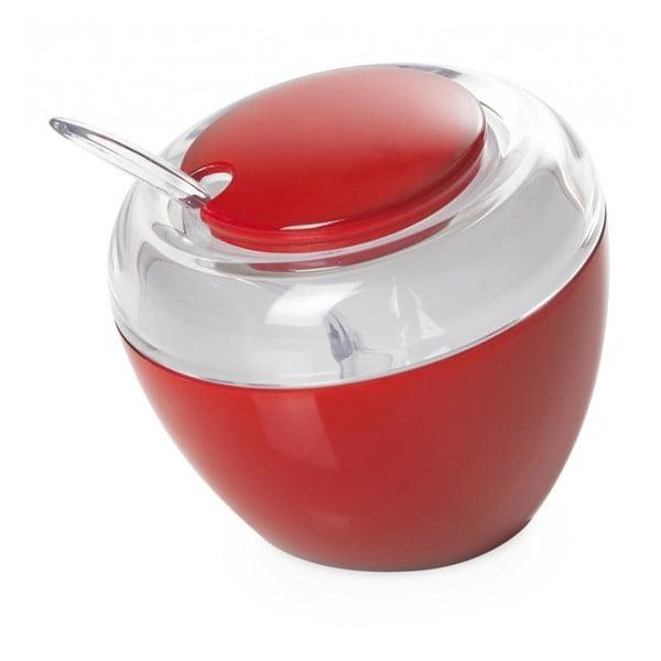 Červená cukřenka se lžičkou