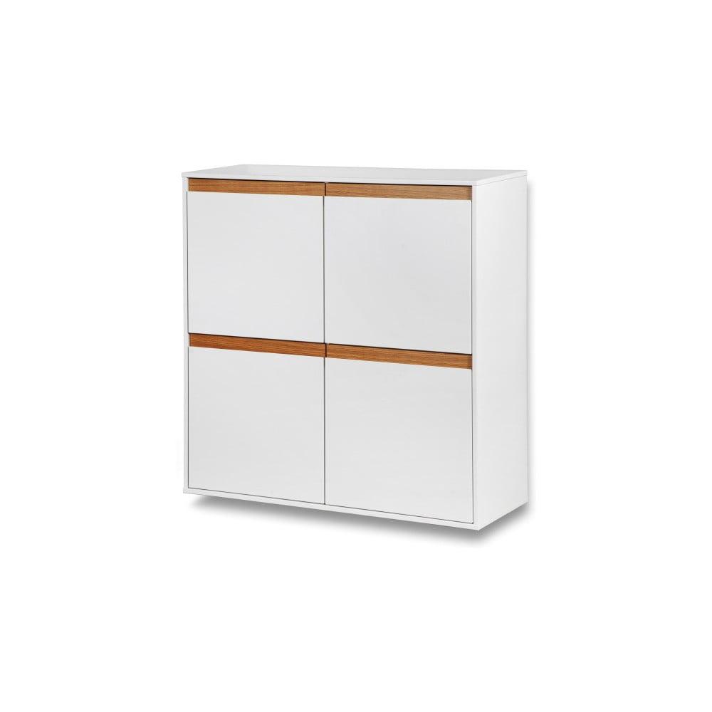 Bílá nástěnná skřínka s dřevěnými detaily Dřevotvar Ontur 42