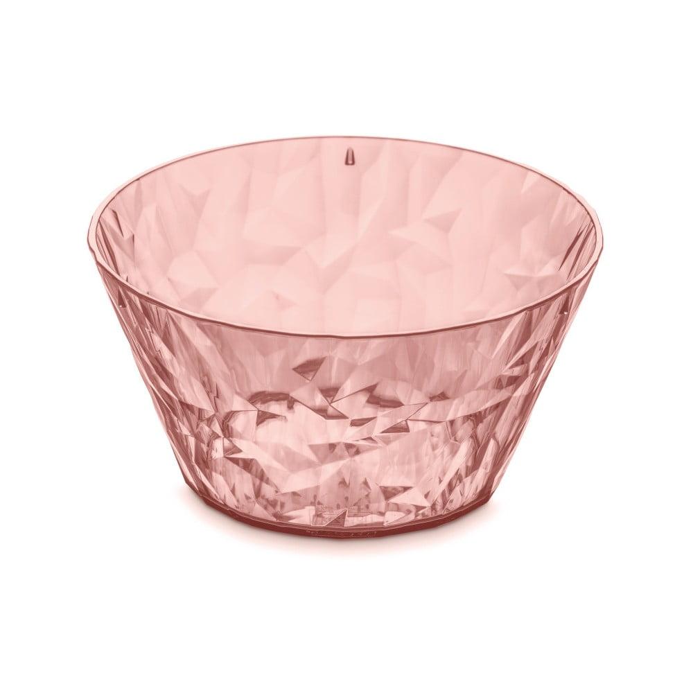 Lososově růžová plastová salátová mísa Tantitoni Crystal, 700 ml