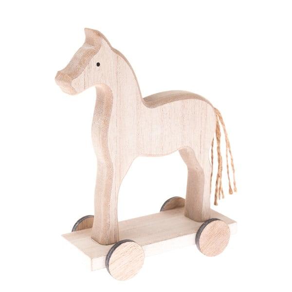 Drevená dekorácia koníka na kolieskach Dakls, výška 16 cm