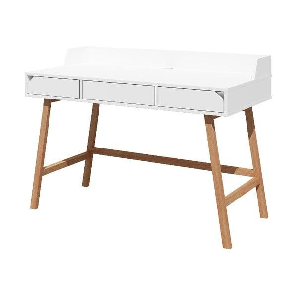 Bílý děstký pracovní stůl z dubového dřeva BELLAMY Lotta