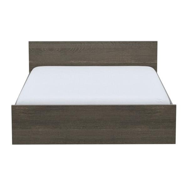 Dvoulůžková postel v dekoru tmavě mořeného dubového dřeva Parisot Adrienne, 160x200cm
