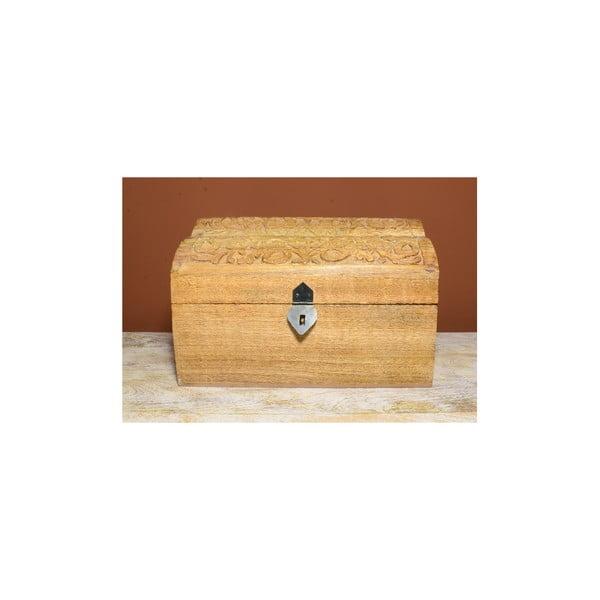 Dřevěná truhlice s vyřezávaným víkem Indie