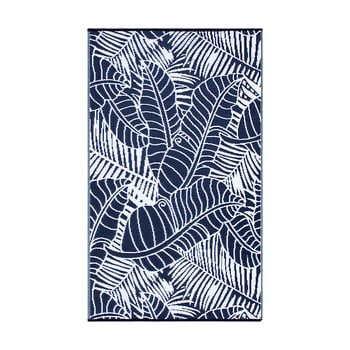 Covor reversibil potrivit pentru exterior, din plastic reciclat Fab Hab Manila Navy, 120 x 180 cm, albastru