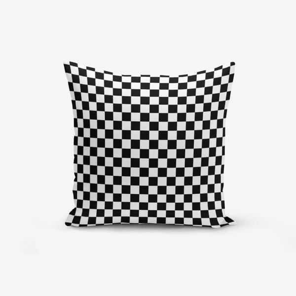 Față de pernă cu amestec din bumbac Minimalist Cushion Covers Black White Ekose, 45 x 45 cm, negru - alb