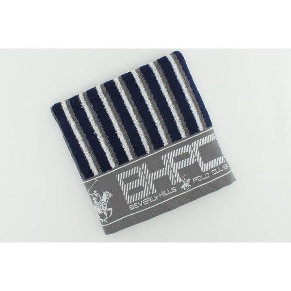 Šedo-modrý bavlněný ručník BHPC, 50x100 cm