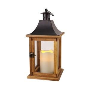Dřevěná lucerna s LED žárovkou, hnědá