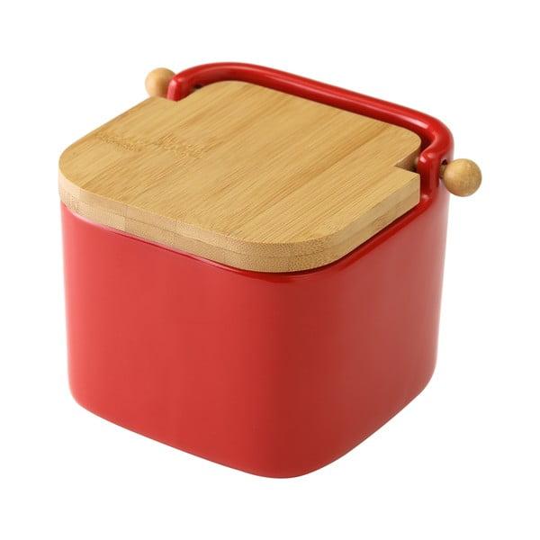 Czerwony pojemnik ceramiczny na sól Unimasa