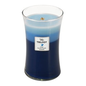 Lumânări parfumate WoodWick Trilogy, aromă de bumbac, flori și cașmir, 130 ore