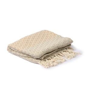 Šedo-béžový hammam ručník Spa Time Dot, 95x180cm