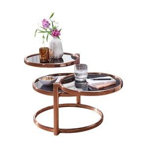Černý příruční stolek s nohami v měděné barvě Skyport Susi, ⌀ 58 cm