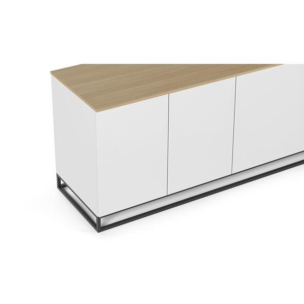 Matně bílý televizní stolek s deskou v dekoru dubového dřeva TemaHome Join, 200 x 65 cm
