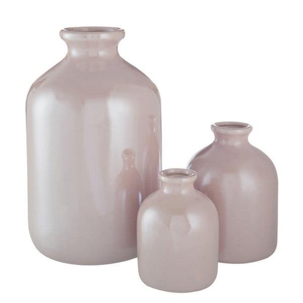 Růžová kameninová váza J-Line, 13x13x17 cm