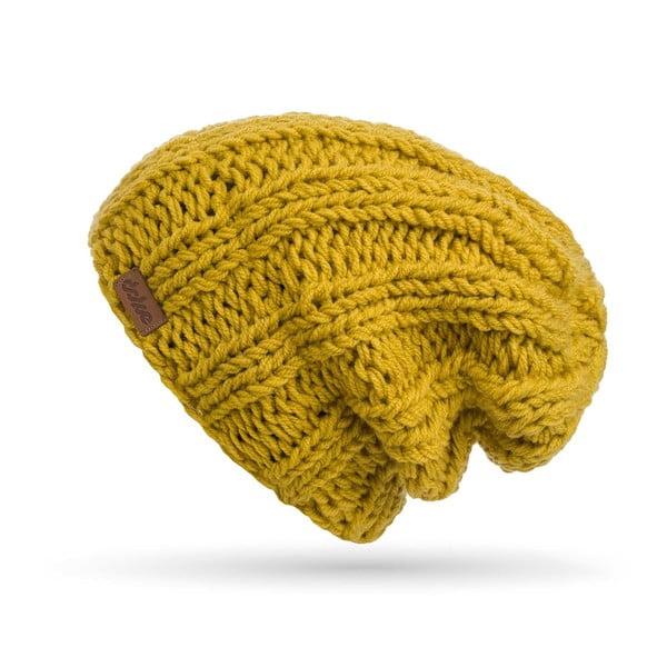 Horčicovožltá ručne pletená čiapka DOKE Mina