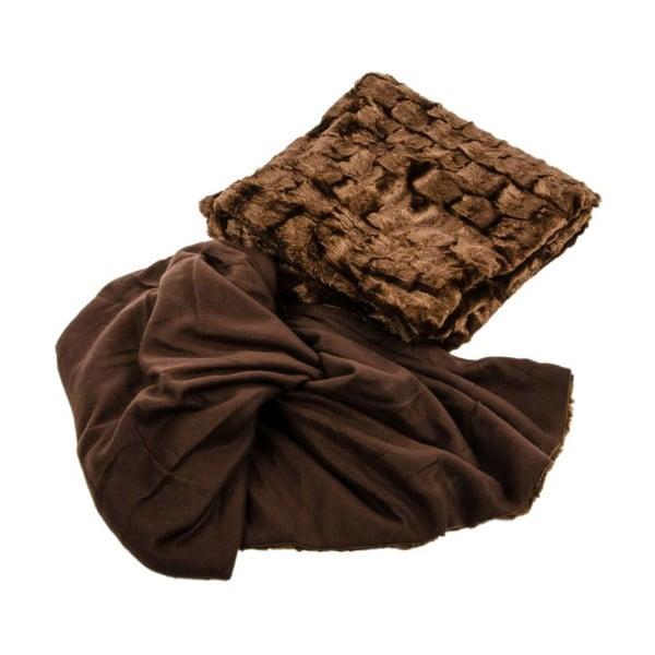 Kožešinový přehoz na postel, hnědý, 210x230 cm