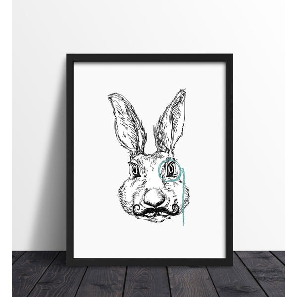 Zarámovaný plakát We Love Home Hipster Rabbit, 40 x 50 cm