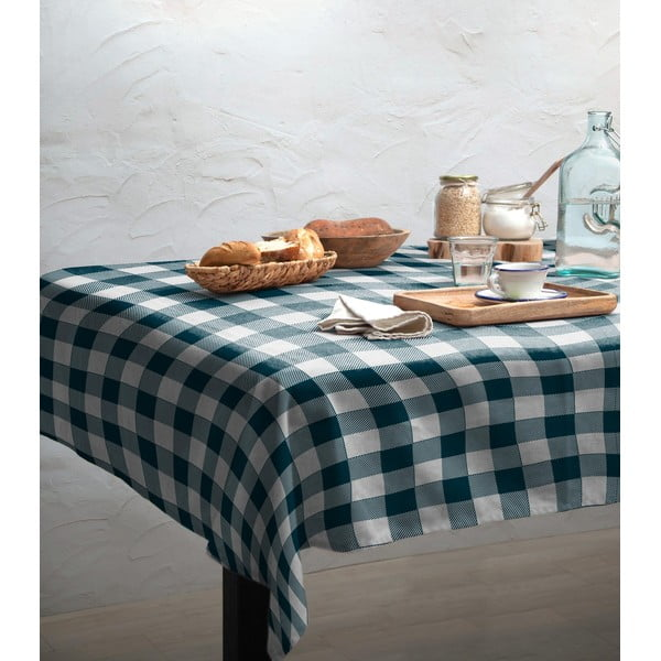 Față de masă Linen Couture Turquoise Vichy, 140 x 200 cm