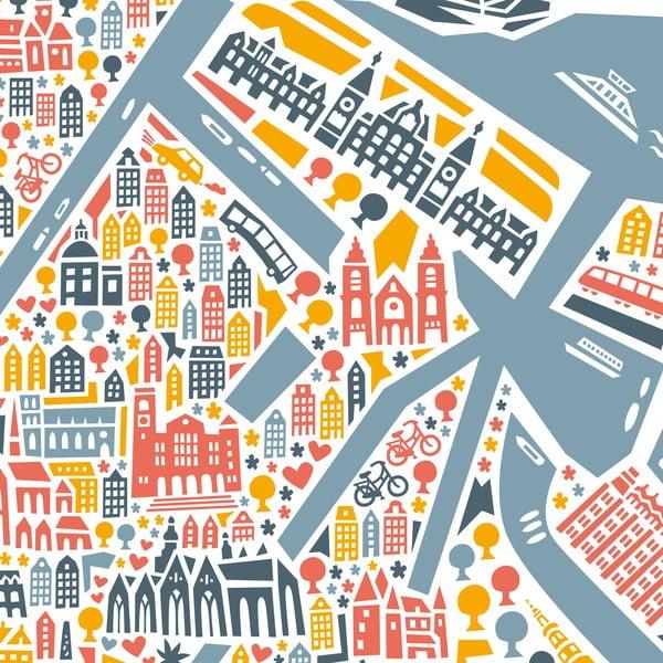 Nástěnná mapa Amsterdam, 70x50 cm