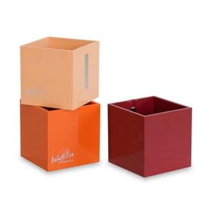 Sada 3 ks velkých magnetických květináčů CUBE, oranžová