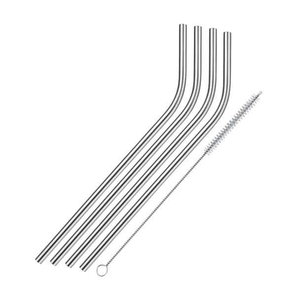 4 db hajlított rozsdamentes acél szívószál - Westmark