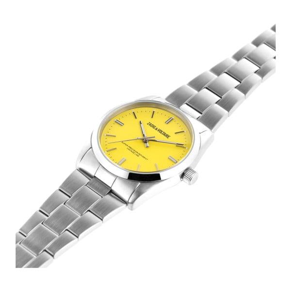 Dámské hodinky stříbrné barvy se žlutým ciferníkem Zadig & Voltaire