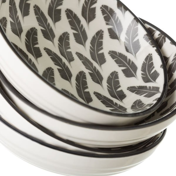 Šedobílá porcelánová miska Unimasa Plume, Ø12,6cm
