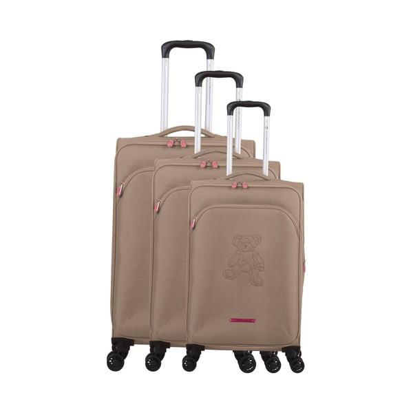 Zestaw 3 beżowych walizek z 4 kółkami Lulucastagnette Emilia