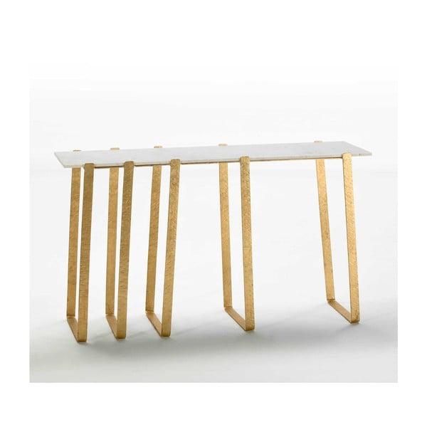 Konzolový stolek s mramorovou deskou a nohami ve zlaté barvě Thai Natura, 38x132cm