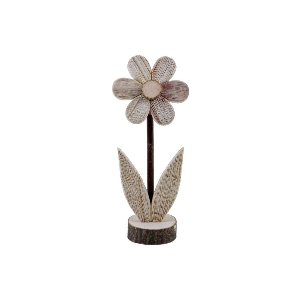 Malá dřevěná dekorace ve tvaru květiny s motivem květiny EgoDekor, 8x21 cm
