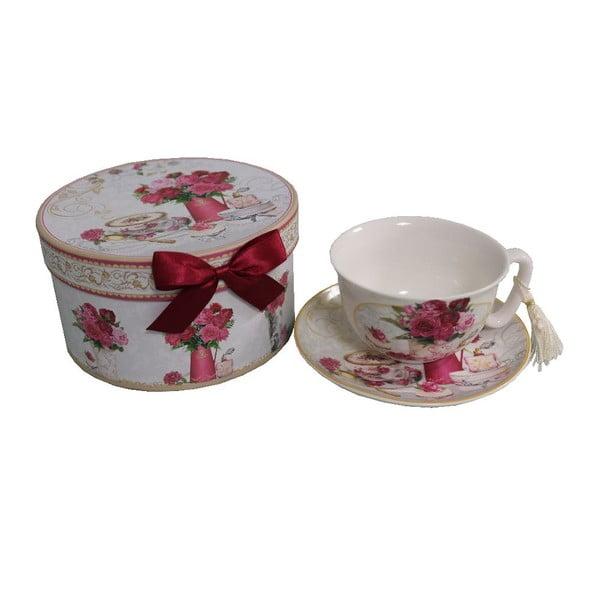 Porcelánový hrnek s podšálkem v dárkové krabičce Antic Line Romantic