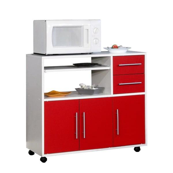 Červeno-bílý pojízdný kuchyňský úložný systém s policemi Symbiosis Marius