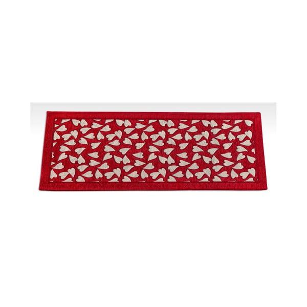 Červený vysoce odolný kuchyňský koberec Webtappeti Corazon Rosso,55x190cm