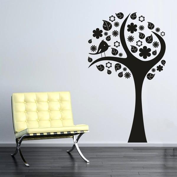 Samolepka na stěnu Rozkvetlý strom, černá