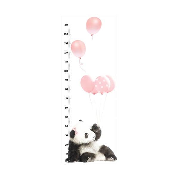 Naklejka ścienna z miarką wysokości Dekornik Pink Panda, 60x160 cm