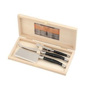 Sada 3 černých nožů na sýry v dřevěném balení Jean Dubost