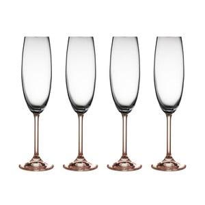 Sada 2 sklenic na sekt ze růžového křišťálového skla Bitz Fluidum, 220 ml