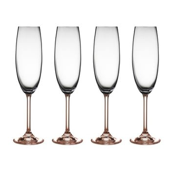 Set 2 pahare de șampanie din cristal Bitz Fluidum 220 ml roz