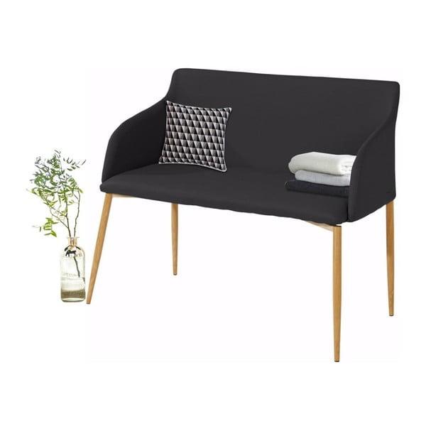 Černá lavička s dřevěnými nohami Støraa Nimbus