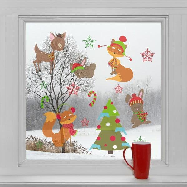 Elektrostatické vánoční samolepky Vánoční les
