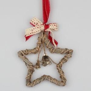 Hnědá ratanová závěsná hvězda Dakls Bell, výška 30 cm