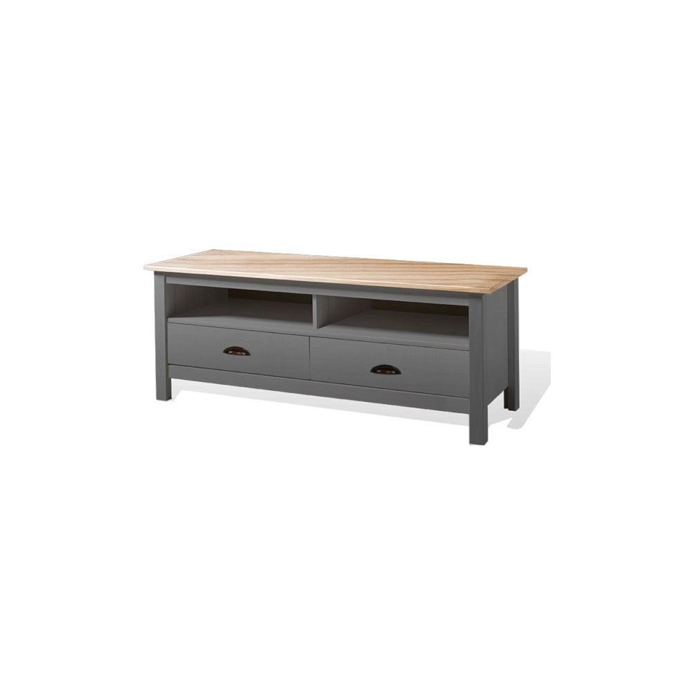 Šedý TV stolek z borovicového dřeva se 2 zásuvkami SOB Irelia