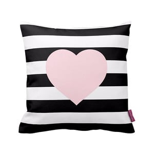 Černobílý polštář  Stripes Pink, 43x43cm