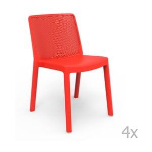 Sada 4 červených zahradních židlí Resol Fresh