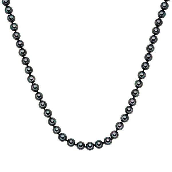 Perlový náhrdelník Muschel, antracitové perly 8 mm, délka 50 cm