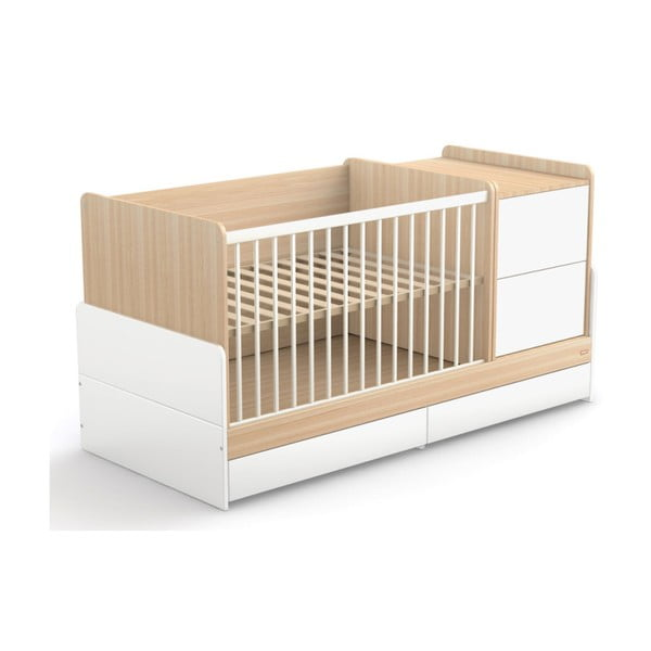Pătuț alb pentru copii cu sertar Faktum Alda Kombi, 120 x 70 cm