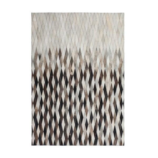 Krémovo-šedý kožený koberec Eclipse, 80x150cm